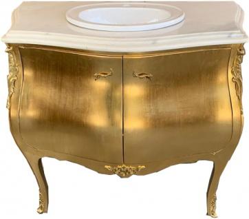 Casa Padrino Luxus Barock Waschtisch Kommode Gold mit Marmorplatte - Luxus Barock Badezimmermöbel