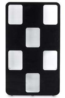 Designer Bücherregal aus lackiertem Holz Weiß/Schwarz Hochglanz Höhe: 207cm, Breite: 120cm, Tiefe: 30 cm, modernes Bücherregal - Vorschau 3