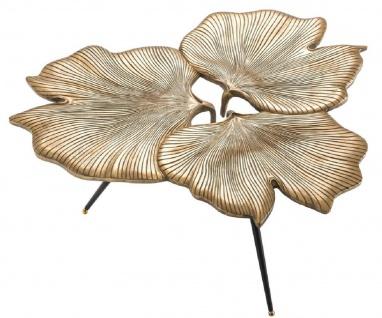 Casa Padrino Designer Beistelltisch Vintage Messingfarben / Schwarz / Gold 75 x 64 x H. 38, 5 cm - Aluminium Tisch im Ginkgoblätter Design - Luxus Qualität - Vorschau 2