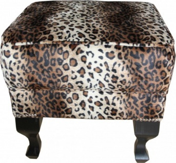 Casa Padrino Limited Edition Chesterfield Hocker Leopard - Club Möbel