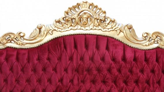 Casa Padrino Barock Sofa 3er Master Bordeaux Rot /Gold- Antik Möbel - Vorschau 2