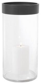 Casa Padrino Luxus Kerzenleuchter Bronze Ø 20, 5 x H. 41, 5 cm - Runder Glas Kerzenleuchter mit Aluminium Ring - Luxus Qualität
