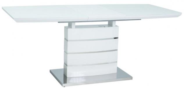 Casa Padrino Luxus Esstisch Weiß / Silber 140-180 x 80 x H. 76 cm - Ausziehbarer Esszimmertisch mit Glasplatte - Küchen Möbel