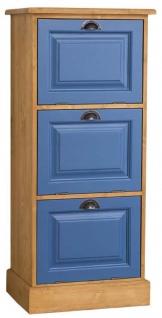 Casa Padrino Landhausstil Kommode Naturfarben / Blau 55 x 40 x H. 126 cm - Möbel im Landhausstil