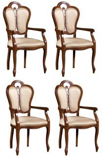Casa Padrino Luxus Barock Esszimmer Set Braun / Weiß / Beige 57 x 43 x H. 105 cm - 4 Esszimmerstühle mit Armlehnen - Esszimmermöbel im Barockstil