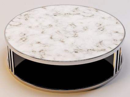 Casa Padrino Luxus Couchtisch Silber / Weiß / Schwarz Ø 115 x H. 33 cm - Runder Wohnzimmertisch mit Marmorplatte und getönter Glasplatte - Luxus Möbel - Vorschau 3
