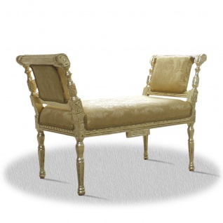 Casa Padrino Barock Sitzbank Gold Muster 110 x 40 x H. 70 cm
