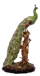 Casa Padrino Barock Pfau Skulptur Messing / Porzellan 37.3 x 28.5 x H 72.5 cm - Rokoko Antik Stil Jugendstil Figur