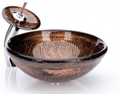 Casa Padrino Designer Waschtisch Set Braun Ø 43 x H. 30 cm - Einhebel Wasserhahn mit rundem Glas Waschbecken - Luxus Bad Zubehör