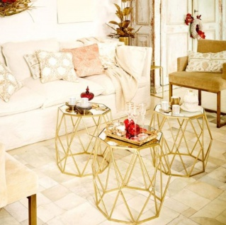 Casa Padrino Luxus Beistelltisch Set Gold - 3 Metall Tische mit Glasplatte - Wohnzimmer Möbel - Luxus Kollektion