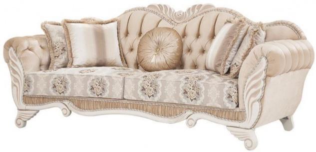 Casa Padrino Luxus Barock Sofa Beige / Weiß 230 x 88 x H. 96 cm - Wohnzimmer Sofa mit Blumenmuster und dekorativen Kissen - Barock Möbel