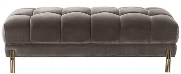 Casa Padrino Luxus Sitzbank Grau / Messingfarben 133 x 59 x H. 42 cm - Gepolsterte Samt Bank mit Edelstahl Beinen - Luxus Kollektion - Vorschau 3
