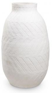 Casa Padrino Luxus Tonvase Weiß Ø 60 x H. 106, 5 cm - Handgefertigte Runde Deko Vase - Wohnzimmer Deko - Garten Deko - Deko Accessoires