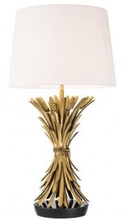 Casa Padrino Luxus Tischleuchte Antik Gold / Schwarz / Weiß Ø 45 x H. 85 cm - Designer Tischlampe mit Granitsockel & Lampenschirm