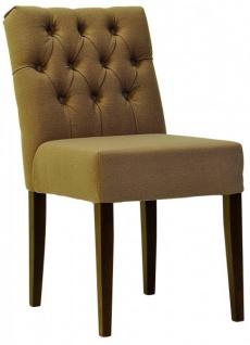 Casa Padrino Designer Esszimmer Stuhl Model EF 283 Khaki / Braun - Hoteleinrichtung - Buchenholz - Chesterfield Design - Vorschau 3