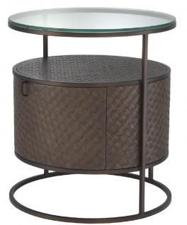 Casa Padrino Luxus Nachttisch Bronze Ø 50 x H. 56 cm - Runder Beistelltisch mit Schublade und Glasplatte - Luxus Schlafzimmermöbel