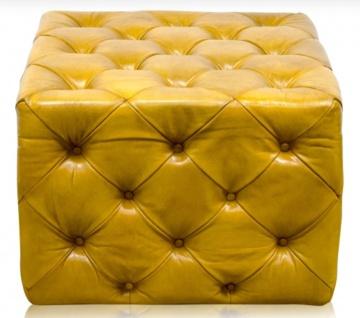 Casa Padrino Luxus Echtleder Fußhocker Vintage Gelb 64 x 64 x H. 46 cm - Chesterfield Möbel - Vorschau 2