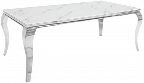 Casa Padrino Designer Esstisch Weiß / Grau / Silber 200 x 105 x H. 75 cm - Rechteckiger Edelstahl Küchentisch mit digitalbedrucktem Sicherheitsglas in Marmoroptik - Moderne Barock Möbel