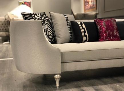Casa Padrino Luxus Barock Sofa Silber / Antik Silber - Handgefertigtes Wohnzimmer Sofa - Edle Barock Wohnzimmer Möbel - Vorschau 2