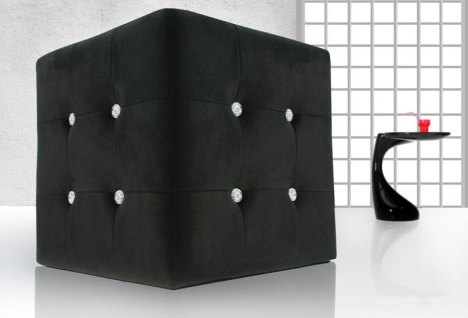 Casa Padrino Sitzhocker Würfel Schwarz mit Bling Bling Steinen - Cube Hocker - Designer Hocker
