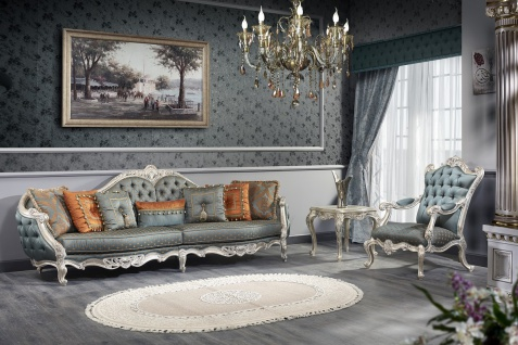 Casa Padrino Luxus Barock Wohnzimmer Set - 1 Chesterfield Sofa & 1 Chesterfield Thron Sessel & 1 Beistelltisch - Barock Wohnzimmermöbel