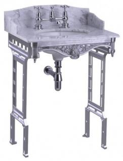 Casa Padrino Luxus Jugendstil Stand Waschtisch Weiß / Aluminium mit Marmorplatte mit Spritzschutz hinten und seitlich - Barock Waschbecken Barockstil Antik Stil