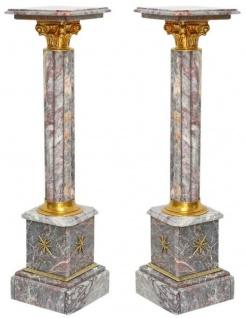 Casa Padrino Barock Marmor Säulen Set Grau / Gold - Prunkvolle Deko Säulen im Barockstil - Barock Deko Accessoires - Edel & Prunkvoll
