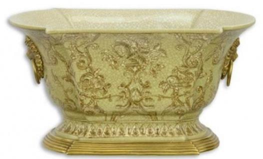 Casa Padrino Jugendstil Blumentopf Grün / Gold 26, 9 x 16, 7 x H. 14, 1 cm - Porzellan Pflanzentopf mit Bronze Löwenkopf Griffen - Deko Accessoires