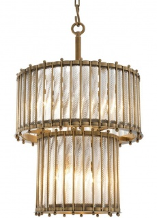 Casa Padrino Luxus Hängeleuchte Antik Messingfarben Ø 52, 5 x H. 83 cm - Runde Messing Pendelleuchte mit handgemachtem Glas