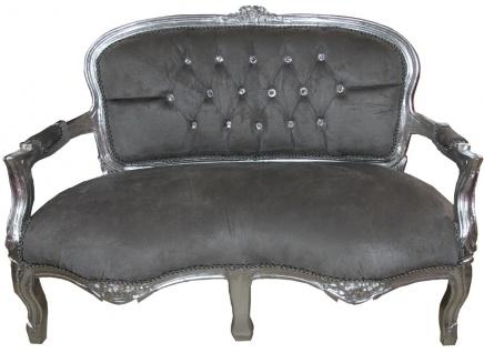 Casa Padrino Barock Kinder Sitzbank Grau / Silber mit Bling Bling Glitzersteinen 97 x 38 x H. 67 cm - Antik Stil Kindermöbel