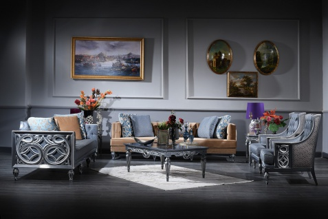 Casa Padrino Luxus Barock Wohnzimmer Set Blau / Beige / Silber - 2 Sofas & 2 Sessel & Couchtisch - Barock Wohnzimmermöbel