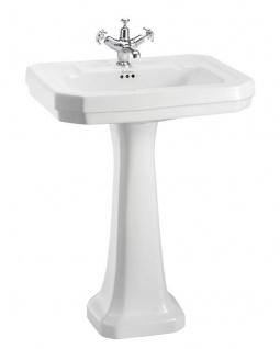 Casa Padrino Luxus Porzellan Waschbecken mit Sockel 61 x 51 x H. 90 cm - Porzellan Waschbecken