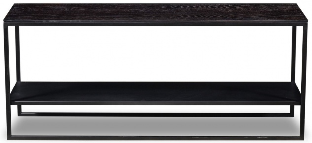 Casa Padrino Luxus Konsole Anthrazitgrau 120 x 35 x H. 51 cm - Massivholz Konsolentisch mit Edelstahl Gestell - Luxus Möbel