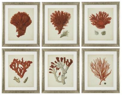 Casa Padrino Bilder / Kunstdruck 6er Set Korallen Antik Rot / Antik Silber 57, 5 x H. 68 cm - Luxus Deko