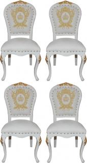 Pompöös by Casa Padrino Luxus Barock Esszimmerstühle mit Krone Weiß / Gold - Pompööse Barock Stühle designed by Harald Glööckler - 4 Esszimmerstühle - Barock Esszimmermöbel