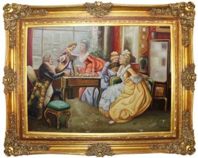 Casa Padrino Barock Ölgemälde Die Verlesung Mehrfarbig / Gold 160 x 10 x H. 130 cm - Handgemaltes Gemälde mit prunkvollem Rahmen im Barockstil - Barockstil Deko