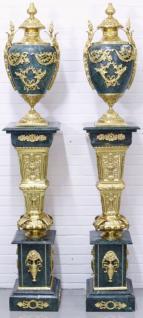 Casa Padrino Barock Vasen mit Marmor Säulen Set Blau / Gold 30 x 30 x H. 180 cm - Edel & Prunkvoll