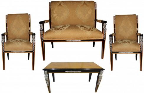 Casa Padrino Barock Empire Salon 4-er Set Gold Muster / Schwarz / Mahagoni / Silber - Sitzbank + 2 Sessel + Couchtisch