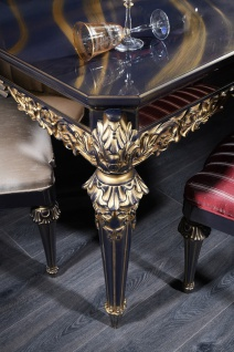 Casa Padrino Luxus Barock Couchtisch Blau / Gold / Schwarz 131 x 85 x H. 45 cm - Wohnzimmertisch im Barockstil - Vorschau 3