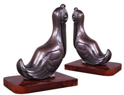 Casa Padrino Luxus Buchstützen Set Pelikane Bronze / Braun 18 x 12 x H. 22 cm - Deko Bronzefiguren mit Holzsockel - Vorschau 3