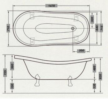 Freistehende Luxus Badewanne Jugendstil Roma Schwarz/Weiß/Chrom 1470mm - Barock Antik Badezimmer - Vorschau 4
