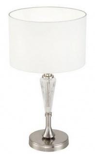 Casa Padrino Tischleuchte Silber / Weiß Ø 26, 5 x H. 46 cm - Elegante Tischlampe im Neoklassischen Stil - Vorschau 1