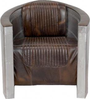 Casa Padrino Art Deco Aluminium Sessel Echtleder Braun - Club Sessel - Lounge Sessel - Flugzeug Flieger Möbel