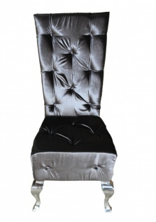 Casa Padrino Barock Esszimmer Stuhl Grau / Silber - Designer Stuhl - Luxus Qualität - Hochlehner Hochlehnstuhl GH