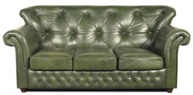 Casa Padrino Chesterfield Echtleder 3er Sofa in grün mit dunkelbraunen Füßen 200 x 80 x H. 85 cm - Luxus Qualität