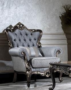 Casa Padrino Luxus Barock Sessel Hellblau / Grau / Dunkelgrau / Gold - Eleganter Wohnzimmer Sessel mit Muster und dekorativem Kissen - Barock Wohnzimmer Möbel