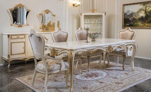 Casa Padrino Luxus Barock Esszimmer Set Rosa / Weiß / Gold - 1 Esstisch & 6 Esszimmerstühle - Esszimmer Möbel im Barockstil - Edel & Prunkvoll