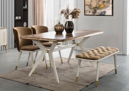 Casa Padrino Luxus Art Deco Esszimmer Set Braun / Weiß / Gold - 1 Esszimmertisch & 4 Esszimmerstühle & 1 Sitzbank - Art Deco Esszimmer Möbel
