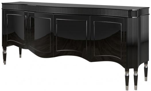 Casa Padrino Luxus Art Deco Sideboard Schwarz / Silber 220 x 53 x H. 93 cm - Edler Wohnzimmer Schrank mit 4 Türen - Art Deco Möbel