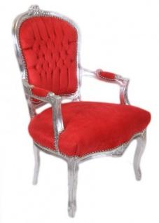 Casa Padrino Barock Salon Stuhl Rot / Silber - Antik Design Möbel - Vorschau 2